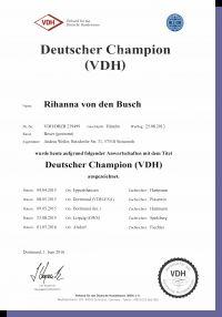 Rihanna von den Busch Wurftag: 25.08.2013 Zuchtbuchnummer: 239499